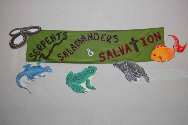 VBS 2009 banner surrounded by Serena's artwork