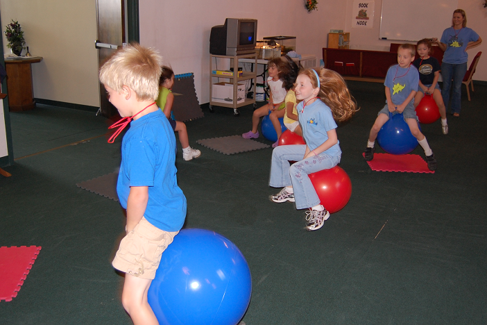 playing musical lily pads on hop balls